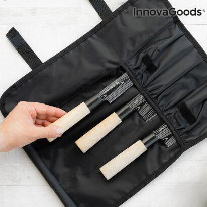 Conjunto de 3 facas Japonesas c/ Estojo de Transporte