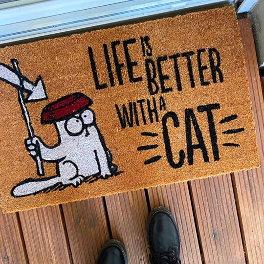 """Tapete de Entrada """"Life Is Better With a Cat Simon's"""""""
