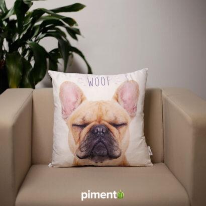 Almofada Woof Bulldog Francês c/ Oferta de Saco de Compras