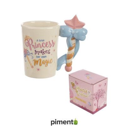 Caneca Princesa com asa em forma de varinha mágica