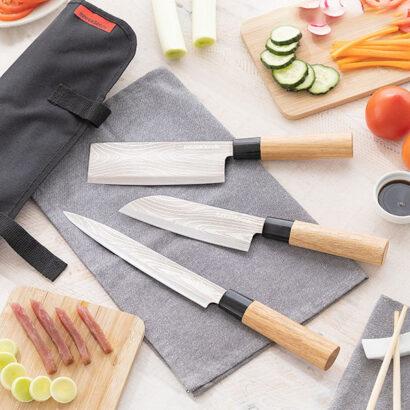 Conjunto de 3 facas Japonesas c/ Estojo de Transporte Grey