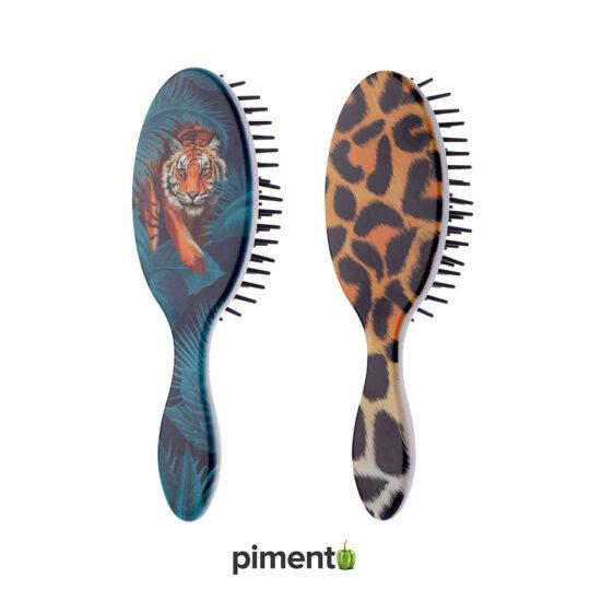 Escova de Cabelo viagem - tigre e padrão tigresa