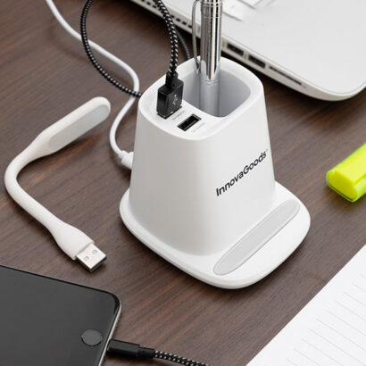Carregador sem fios com suporte / organizador e candeeiro LED USB 5 em 1