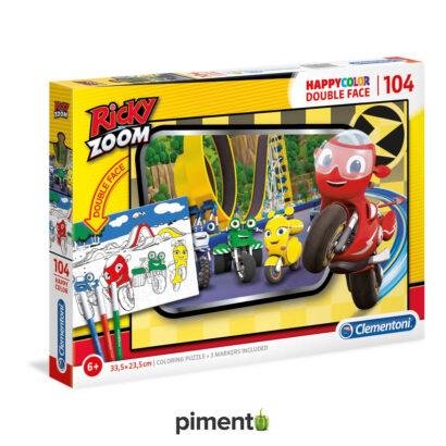 Puzzle Duplaface Ricky Zoom 104 peças c/ marcadores