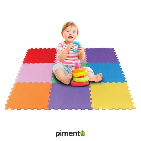 Tapete Puzzle colorido para Crianças - 9 peças - Espuma EVA